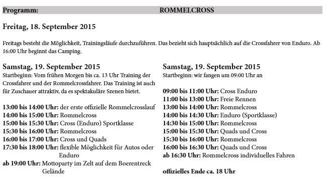Programm Rommelcross